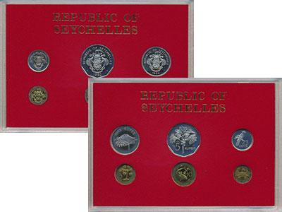 Изображение Подарочные монеты Сейшелы Набор 1982 года 1982  Proof В набор входят шесть