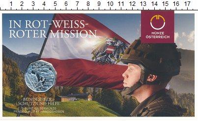 Изображение Подарочные монеты Австрия 5 евро 2015 Серебро UNC 60  лет  Вооружённым
