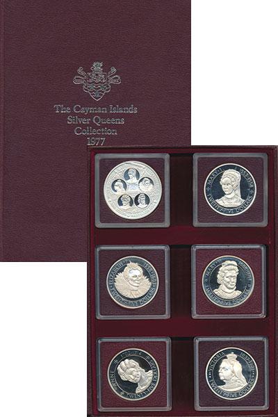 Изображение Подарочные монеты Великобритания Каймановы острова Английские королевы 1977 Серебро Proof
