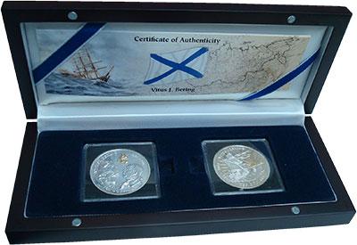 Изображение Подарочные монеты Виргинские острова Витус Беринг 2011 Серебро Proof Набор из двух монет