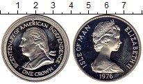 Монета Остров Мэн 1 крона Серебро 1976 Proof- фото