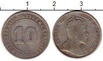 Монета Стрейтс-Сеттльмент 10 центов Серебро 1910 XF- фото