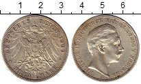 Монета Пруссия 3 марки Серебро 1909 XF фото