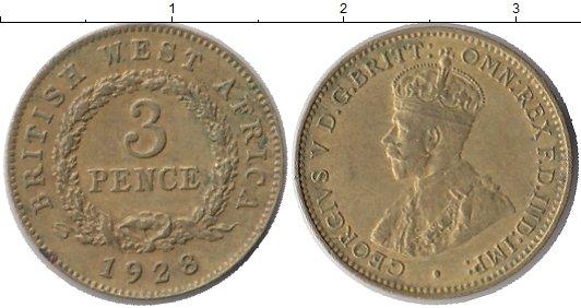 Картинка Монеты Западная Африка 3 пенса Латунь 1928