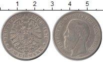 Изображение Монеты Германия Баден 2 марки 1876 Серебро VF
