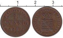 Изображение Монеты Саксен-Майнинген 1 пфенниг 1867 Медь XF