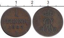 Изображение Монеты Германия Ганновер 1 пфенниг 1843 Медь VF