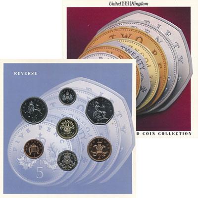 Изображение Подарочные монеты Великобритания Набор 1991 года 1991  UNC В наборе семь монет