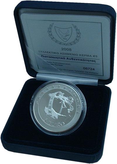 Изображение Подарочные монеты Кипр 5 евро 2008 Серебро Proof Евросоюз.<br>Оригин