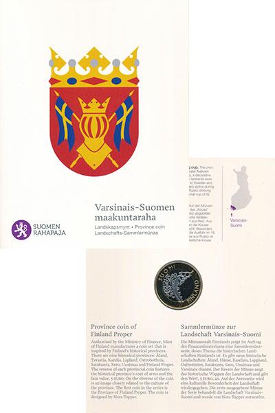 Изображение Подарочные монеты Финляндия 5 евро 2010 Биметалл UNC Исторические области
