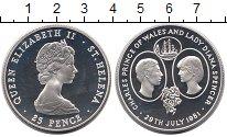 Изображение Монеты Великобритания Остров Святой Елены 25 пенсов 1981 Серебро Proof