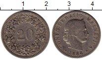 Изображение Монеты Швейцария 20 рапп 1884 Медно-никель VF