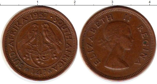 Картинка Монеты ЮАР 1/4 пенни Бронза 1957