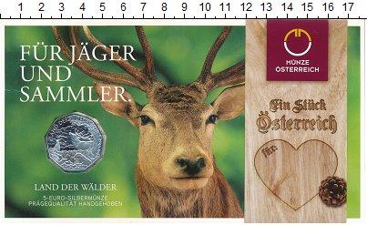 Изображение Подарочные монеты Австрия 5 евро 2011 Серебро UNC Земля  лесов.<br>Ор