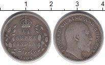 Изображение Монеты Индия 1/4 рупии 1904 Серебро XF-