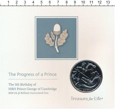 Изображение Подарочные монеты Великобритания 5 фунтов 2018 Медно-никель UNC 5 лет Принцу Джорджу