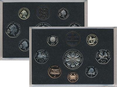 Изображение Подарочные монеты Гернси Набор 1986 года 1986  Proof В набор входят семь