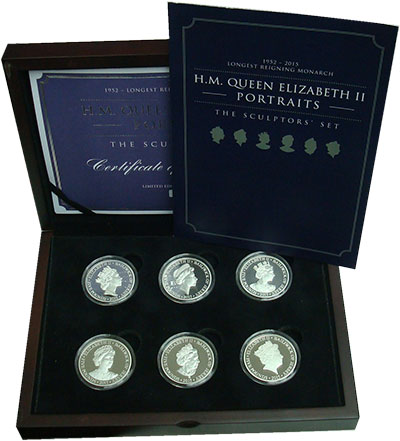 Изображение Подарочные монеты Остров Джерси Королева Елизавета II 2015 Серебро Proof Набор из шести монет