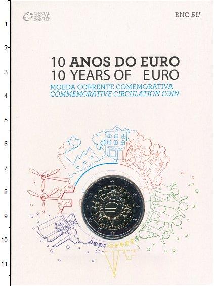 Изображение Подарочные монеты Португалия 2 евро 2012 Биметалл UNC 10 лет наличному обр