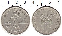 Изображение Монеты Филиппины 1 песо 1908 Серебро XF-