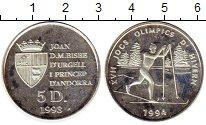 Изображение Монеты Андорра 5 динерс 1993 Серебро Proof-