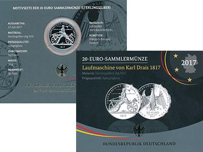 Изображение Подарочные монеты Германия 20 евро 2017 Серебро Proof `200 лет создания пе