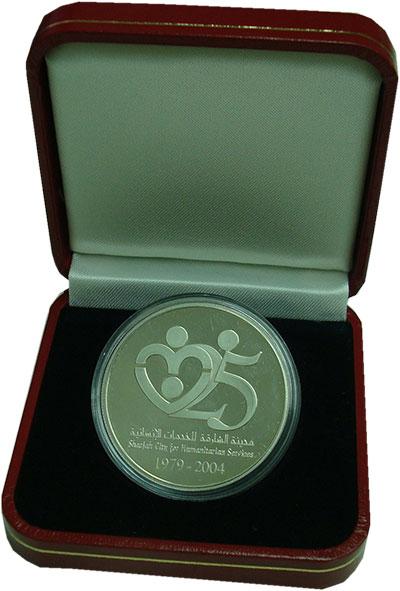 Изображение Подарочные монеты ОАЭ 50 дирхам 2004 Серебро Proof 25 лет Шарджа Сити ф