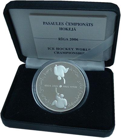 Изображение Подарочные монеты Латвия 1 лат 2005 Серебро Proof Рига`2006. Чемпионат