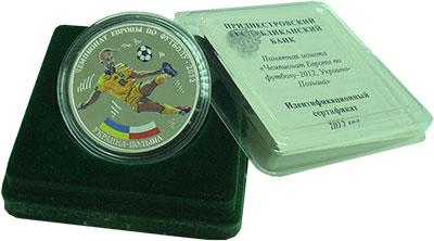 Изображение Подарочные монеты Приднестровье 15 рублей 2012 Серебро Proof Чемпионат Европы по