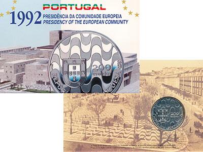 Изображение Подарочные монеты Португалия 200 эскудо 1992 Серебро UNC Председательство в С