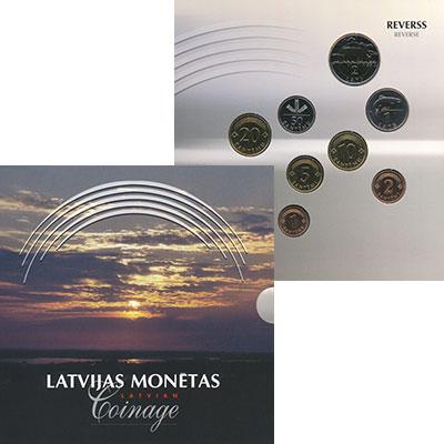 Изображение Подарочные монеты Латвия Набор 1992-1999 гг, 0  UNC В наборе 8 монет ном