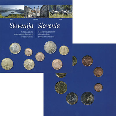 Изображение Подарочные монеты Словения Набор 2007 года 2007  UNC В набор входят восем