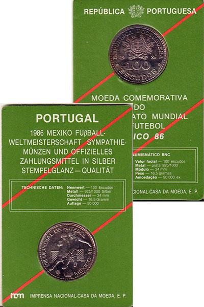 Изображение Подарочные монеты Португалия 100 эскудо 1986 Серебро UNC Чемпионат  мира  по