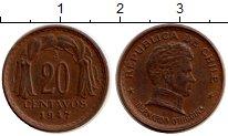 Изображение Монеты Чили 20 сентаво 1947 Бронза XF