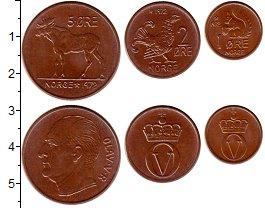 Изображение Наборы монет Норвегия набор монет 1972 Медь UNC В наборе 3 монеты  н