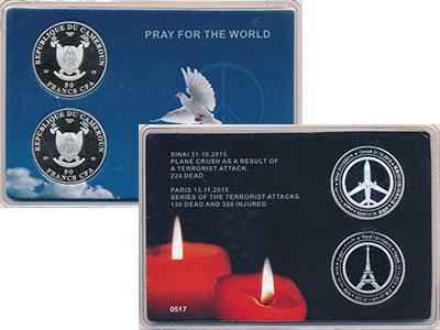 Изображение Подарочные монеты Камерун Молиться за Мир 2016 Посеребрение UNC Две монеты по 50 фра