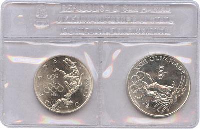 Изображение Подарочные монеты Сан-Марино Олимпиада в Лос-Анжелесе 1984 Серебро UNC Набор из двух монет