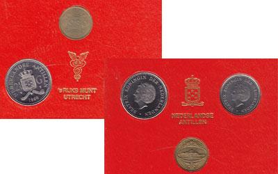 Изображение Подарочные монеты Антильские острова Набор 1980 года 1980 Медно-никель UNC В набор входят две м