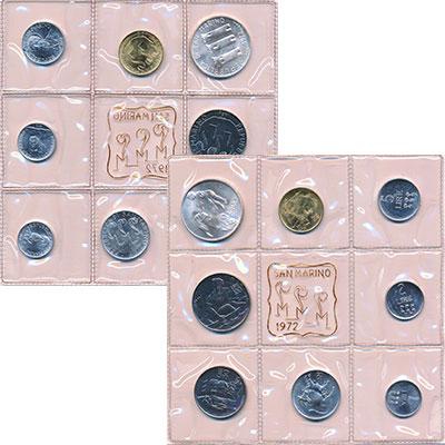 Изображение Подарочные монеты Сан-Марино Набор 1972 года 1972  UNC В набор входят восем