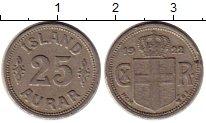 Изображение Монеты Исландия 25 аурар 1922 Медно-никель XF