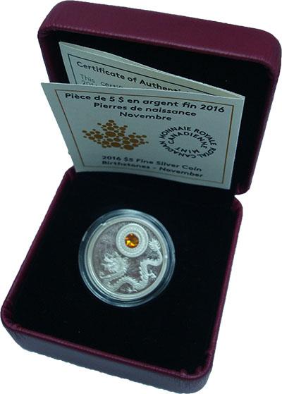 Изображение Подарочные монеты Канада 5 долларов 2016 Серебро Proof Памятная монета в 5