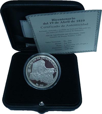 Изображение Подарочные монеты Венесуэла 200 боливаров 2010 Серебро Proof Себастья?н Франси?ск
