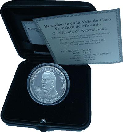 Изображение Подарочные монеты Венесуэла 200 боливаров 2010 Серебро Proof 200 лет апрелю 1810.