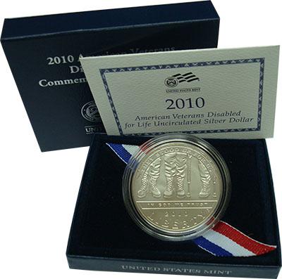 Изображение Подарочные монеты США 1 доллар 2010 Серебро UNC ```Американские вете