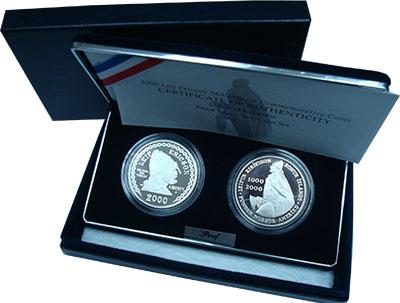 Изображение Подарочные монеты США Лейф Эрикссон 2000 Серебро Proof Совместный выпуск СШ