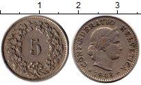 Изображение Монеты Швейцария 5 рапп 1943 Медно-никель XF