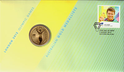Изображение Подарочные монеты Австралия 1 доллар 2012 Латунь UNC Монета номиналом 1 д