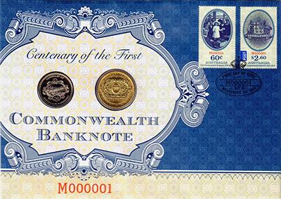 Изображение Подарочные монеты Австралия 100 лет первой банкноте Австралии 2013  UNC Монеты номиналом 20