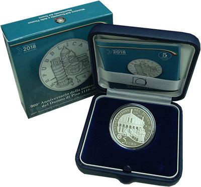 Изображение Подарочные монеты Италия 5 евро 2018 Серебро Proof