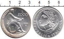 Изображение Монеты Италия 2000 лир 1999 Серебро UNC-